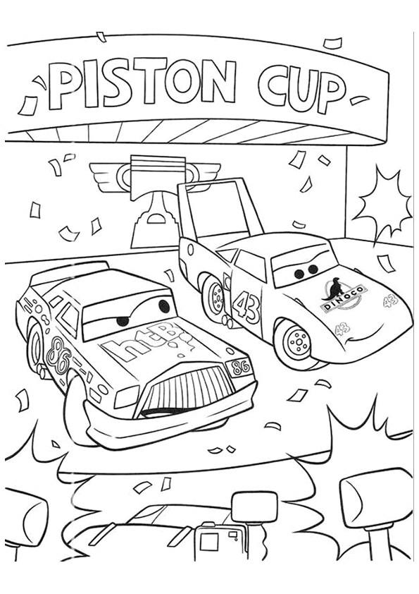 Coloriage et dessins gratuits Voiture de course et le trophée à imprimer