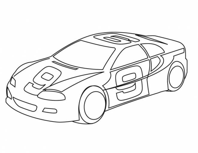 Coloriage et dessins gratuits Voiture de course numéro 9 à imprimer