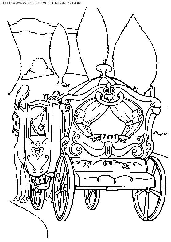Coloriage et dessins gratuits Carrosse de Cendrillon Disney à imprimer