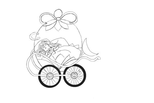 Coloriage et dessins gratuits Carrosse de fille mignonne à imprimer