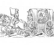 Coloriage et dessins gratuit Carrosse de princesse médiévale à imprimer
