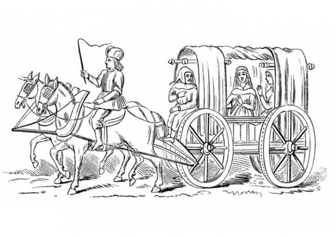 Coloriage Cheval Carrosse.Coloriage Carrosse De Princesse Medievale
