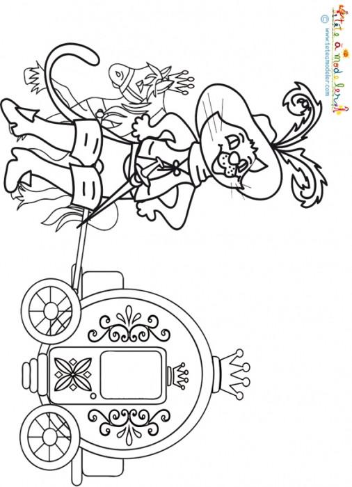 Coloriage et dessins gratuits Carrosse et le chat prince à imprimer