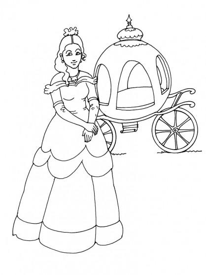Coloriage et dessins gratuits Princesse près de sa Carrosse à imprimer