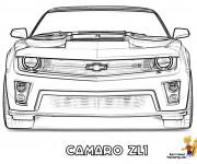 Coloriage et dessins gratuit Camaro Zl1 vue frontale à imprimer