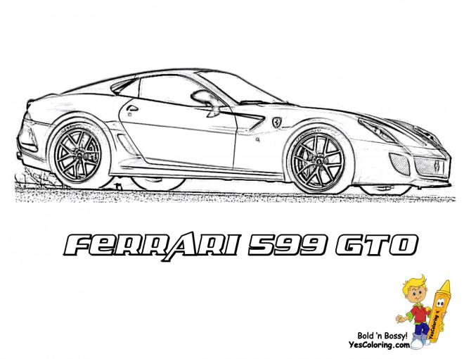 Coloriage et dessins gratuits Ferrari 599 GTO sur la route à imprimer