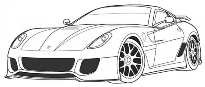 Coloriage Ferrari coup dessin gratuit imprimer