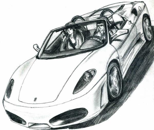 Coloriage et dessins gratuits Ferrari décapotable dessiné à imprimer