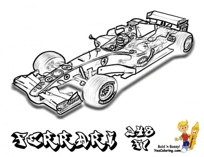 Coloriage et dessins gratuits Ferrari F1 de course à imprimer
