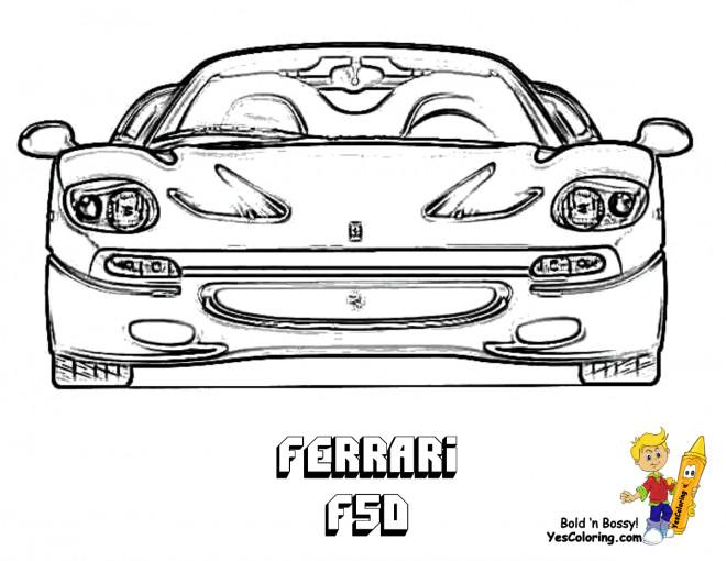 Coloriage et dessins gratuits Ferrari F50 vue de face à imprimer