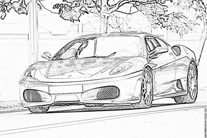 Coloriage et dessins gratuits Ferrari sur la route à imprimer