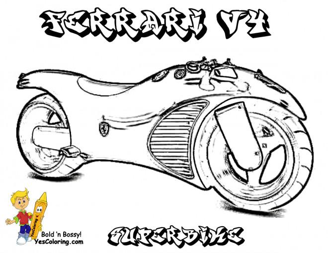 Coloriage et dessins gratuits Moto Ferrari V4 à imprimer