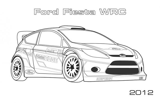 Coloriage Ford Fiesta de Rallye dessin gratuit imprimer