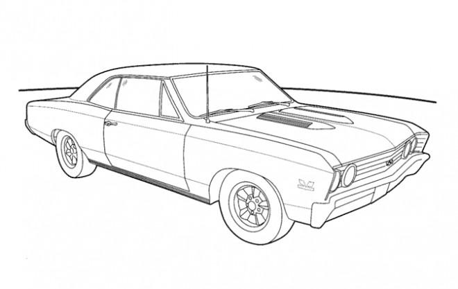 Coloriage et dessins gratuits Auto Ford Mustang classique à imprimer