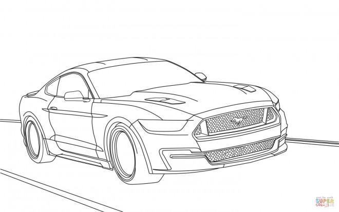 Coloriage et dessins gratuits Ford Mustang sur La Route à imprimer