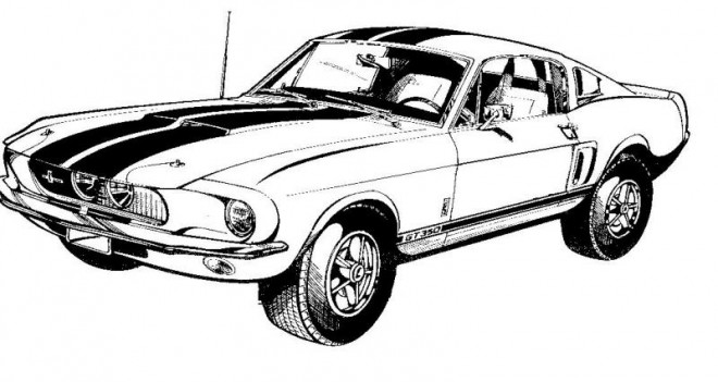 Coloriage Ford Mustang vecteur
