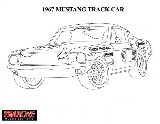 Coloriage Voiture Ford Mustang 1967 Dessin Gratuit A Imprimer