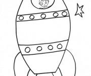 Coloriage Enfant dans un Fusée spatiale
