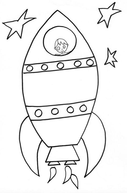 Coloriage et dessins gratuits Enfant dans un Fusée spatiale à imprimer
