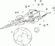 Coloriage Fusée américaine  et les Étoiles