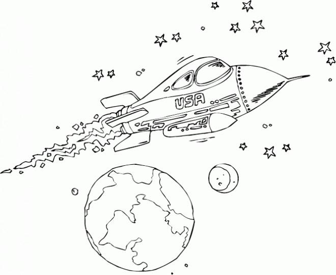 Coloriage et dessins gratuits Fusée américaine  et les Étoiles à imprimer