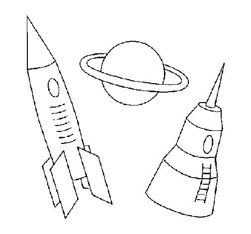Coloriage et dessins gratuits Fusée ariane et Planète simple à imprimer
