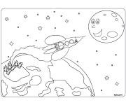 Coloriage Fusée de la Terre vers La Lune