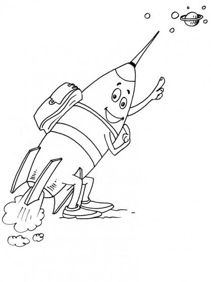 Coloriage et dessins gratuits Fusée drôle à imprimer