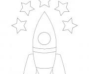 Coloriage Fusée en noir et blanc