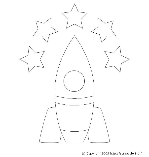 Coloriage et dessins gratuits Fusée en noir et blanc à imprimer