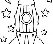Coloriage et dessins gratuit Fusée et Étoiles à imprimer