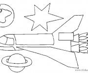 Coloriage et dessins gratuit Fusée et planètes à imprimer