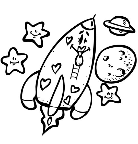 Coloriage et dessins gratuits Fusée qui fait rire à imprimer