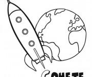 Coloriage Fusée qui quitte la Terre