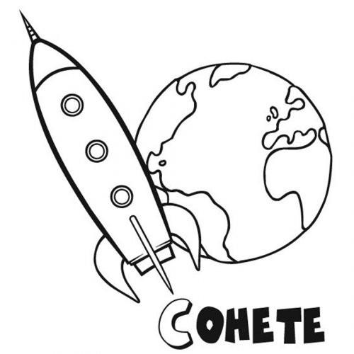 Coloriage et dessins gratuits Fusée qui quitte la Terre à imprimer