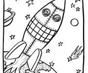 Coloriage et dessins gratuit Fusée spatiale dans l'univers à imprimer