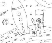 Coloriage Fusée sur la lune
