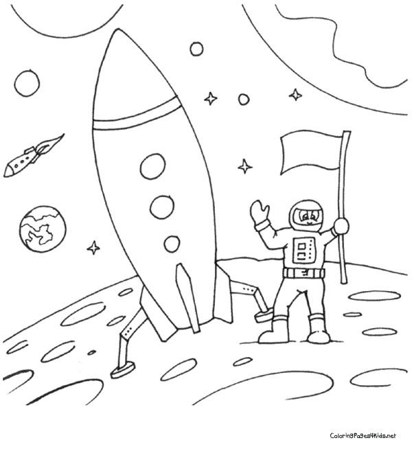 Coloriage et dessins gratuits Fusée sur la lune à imprimer