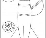 Coloriage et dessins gratuit Fusée vers le système solaire à imprimer
