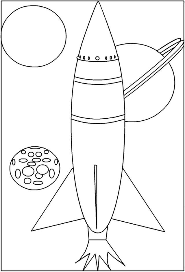 Coloriage et dessins gratuits Fusée vers le système solaire à imprimer