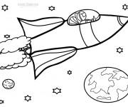 Coloriage Fusée voyage dans l'univers