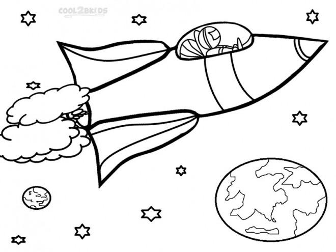 Coloriage et dessins gratuits Fusée voyage dans l'univers à imprimer