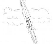 Coloriage Le décollage de Fusée dans l'air