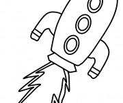 Coloriage Le lancement de Fusée facile