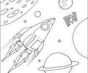 Coloriage Navette spatiale en mission dans l'espace