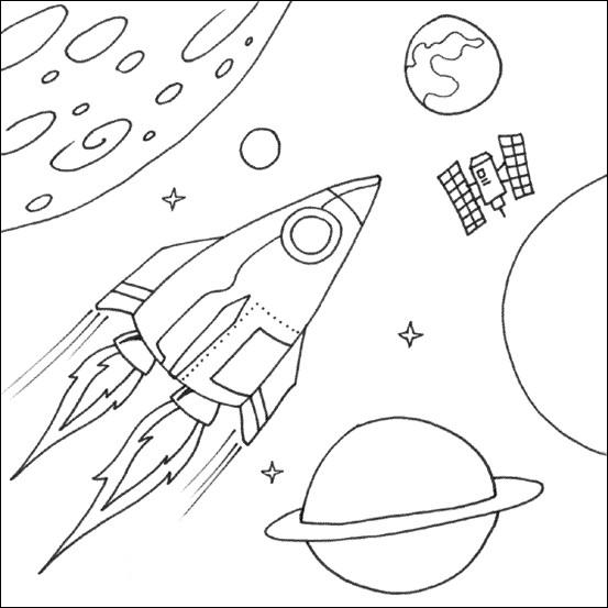 Coloriage et dessins gratuits Navette spatiale en mission dans l'espace à imprimer