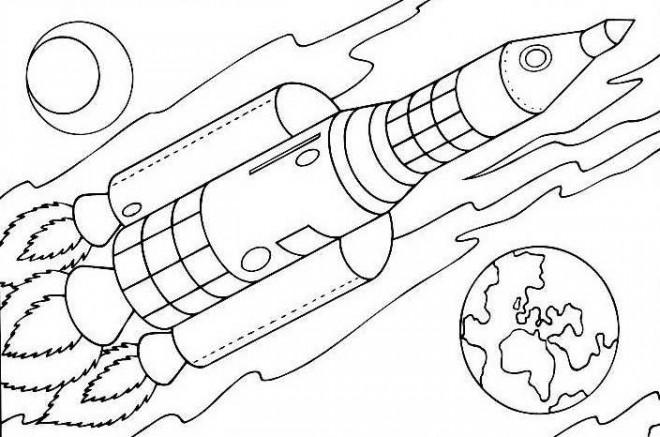 Coloriage et dessins gratuits Paysage Navette spatiale à imprimer