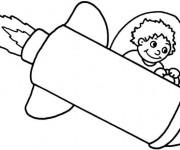 Coloriage Un petit vaisseau spatial et enfant cosmonaute