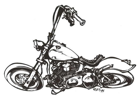 Coloriage et dessins gratuits Harley Davidson artistique à imprimer