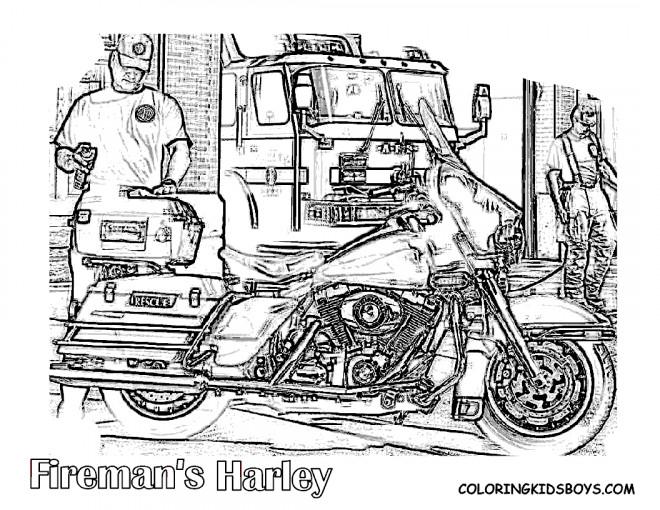 Coloriage et dessins gratuits Harley Davidson de Pompier à imprimer